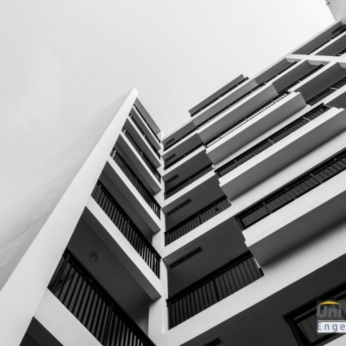 Black and white exterior building with copy space